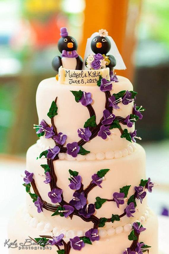 Love bird penguin wedding cake topper, radiant purple wedding ...