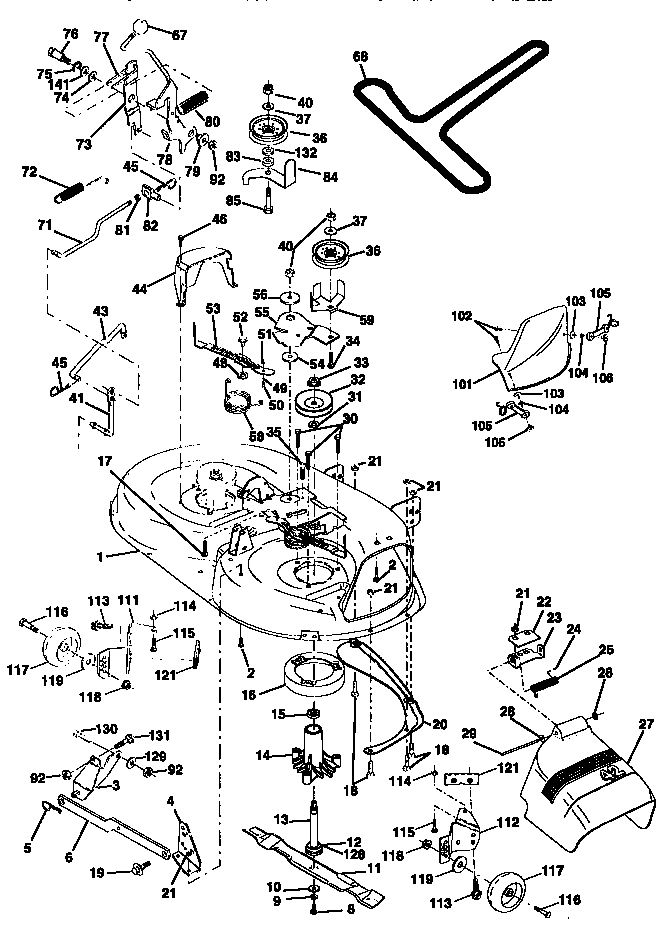 Craftsman Lt1000 Mower Deck Parts Diagram