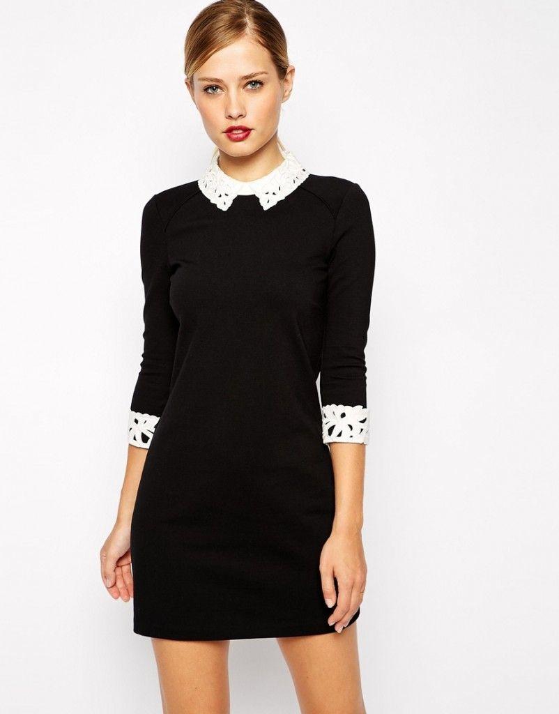 Black lace dress white collar | Color dress | Pinterest | Lace ...