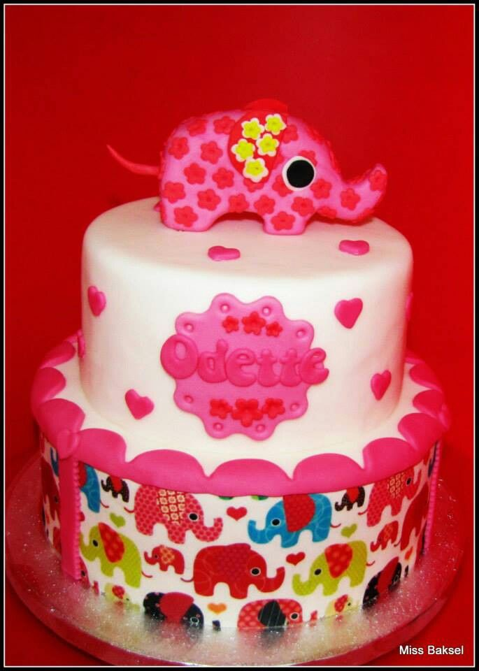 elephant, babyshower cake, birthday, pink, girl