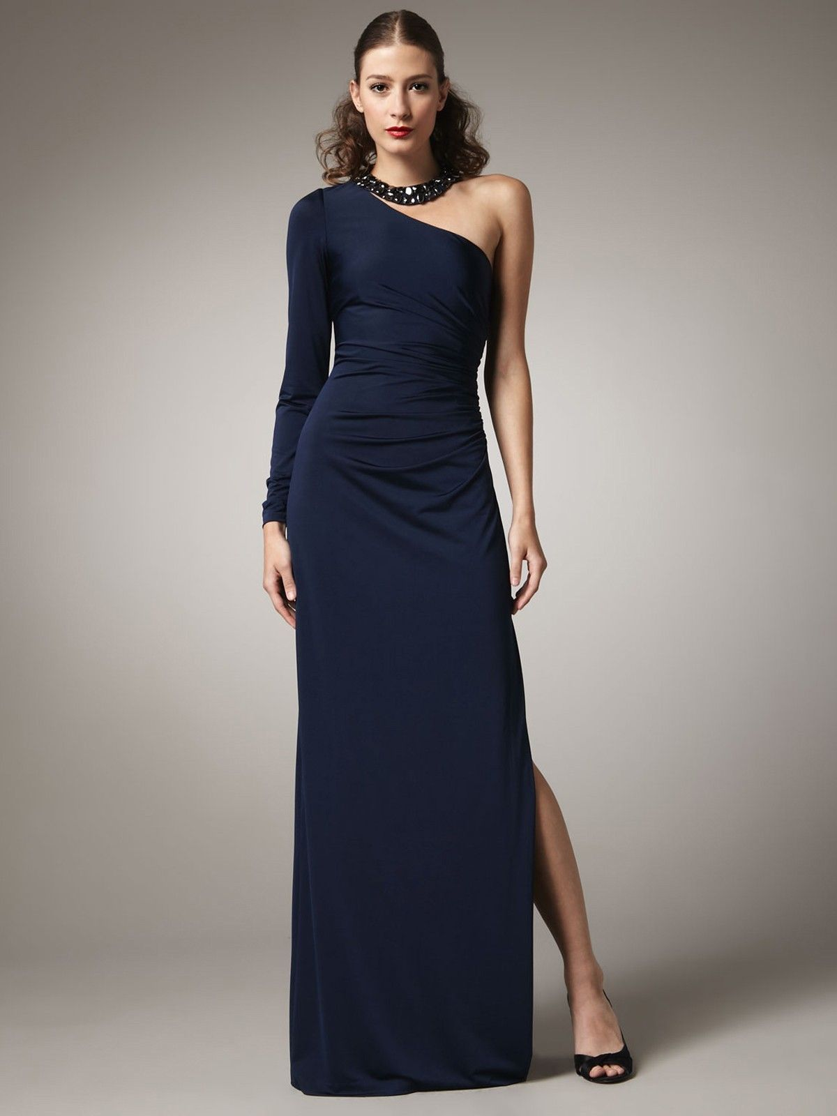 Ultimo - light blue one shoulder long sleeve dress by Elie Saab ...