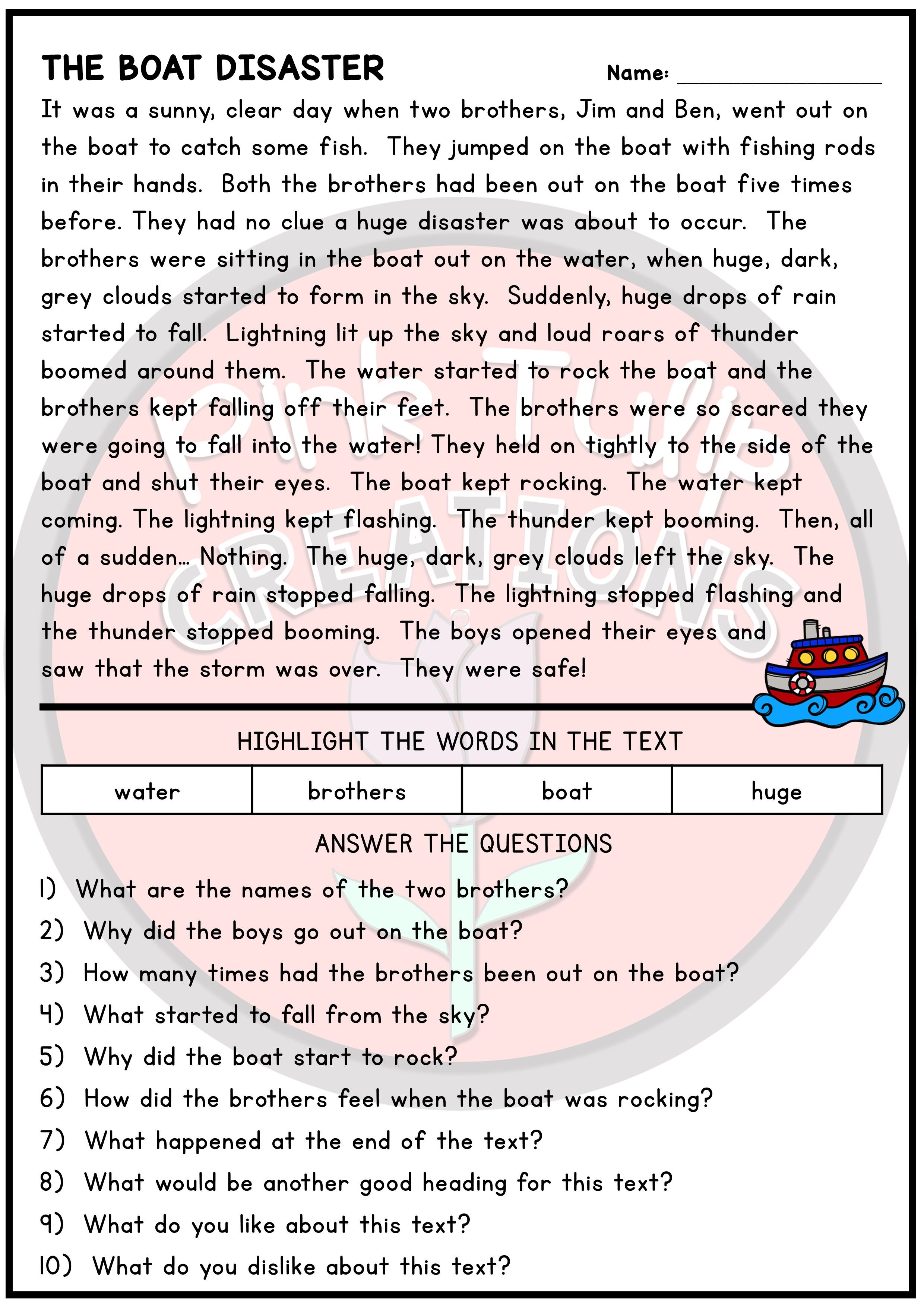 - 10 Page Reading Comprehension Worksheet Pack - With Answers
