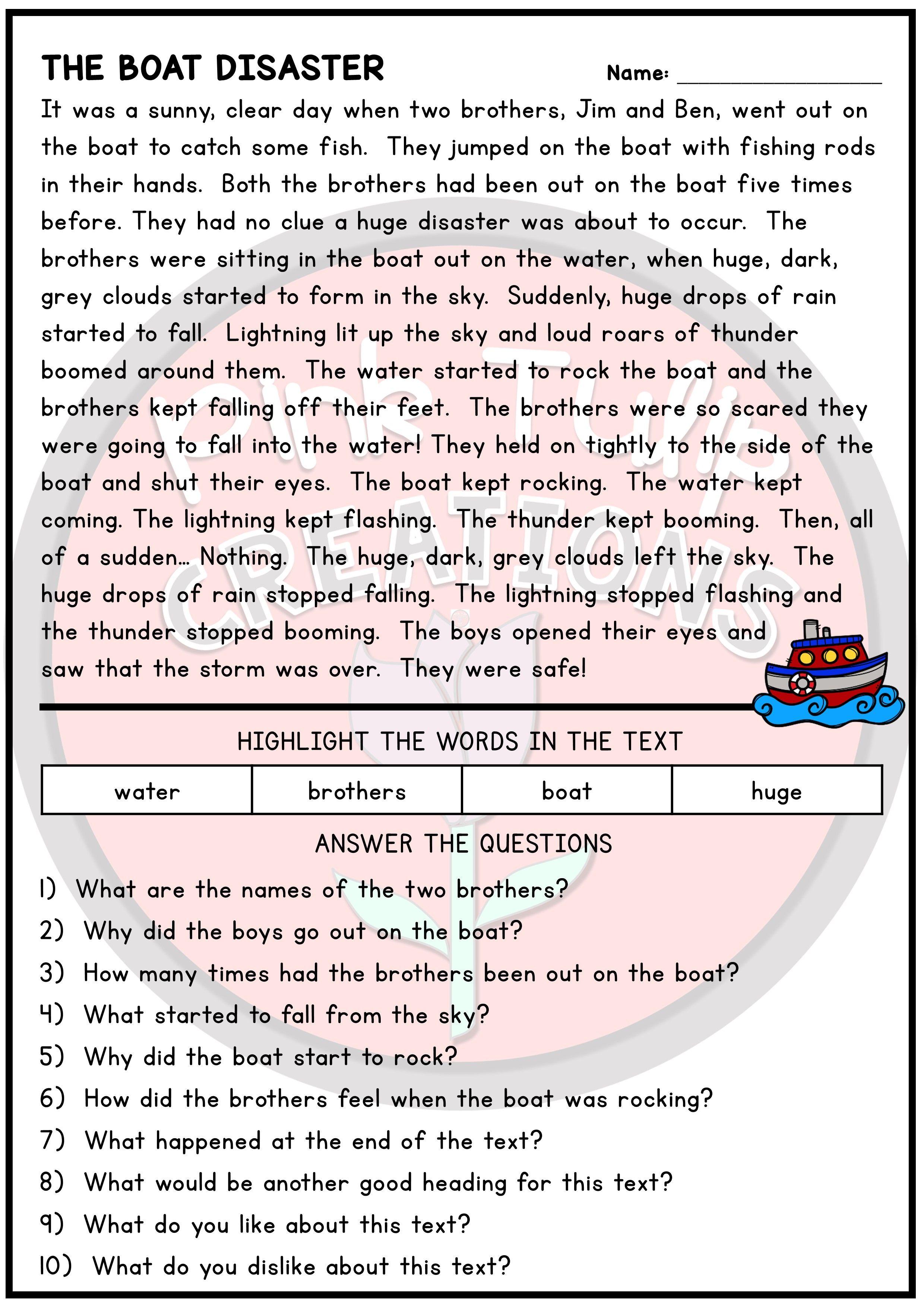 10 Page Reading Comprehension Worksheet Pack