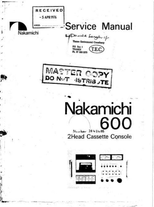 nakamichi 600 original service manual nakamichi service manuals rh pinterest com