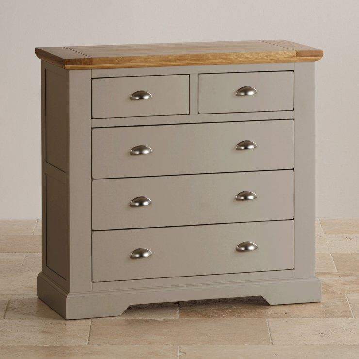 Natural Oak And Light Grey Painted 2 3 Chest Of Drawers Oak Furniture Land Oak Bedroom Furniture Grey Chest Of Drawers