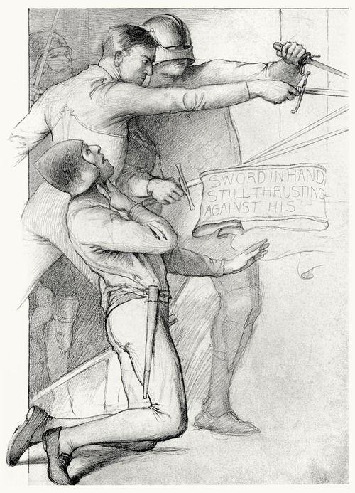 oldbookillustrations:  Sword in hand still thrusting.  Edwin Howland Blashfield, from Masques of cupid, by  Evangeline Wilbour Blashfield (1901)