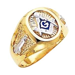Masonic 3rd Degree Blue Lodge Ring with Solid Back | Free