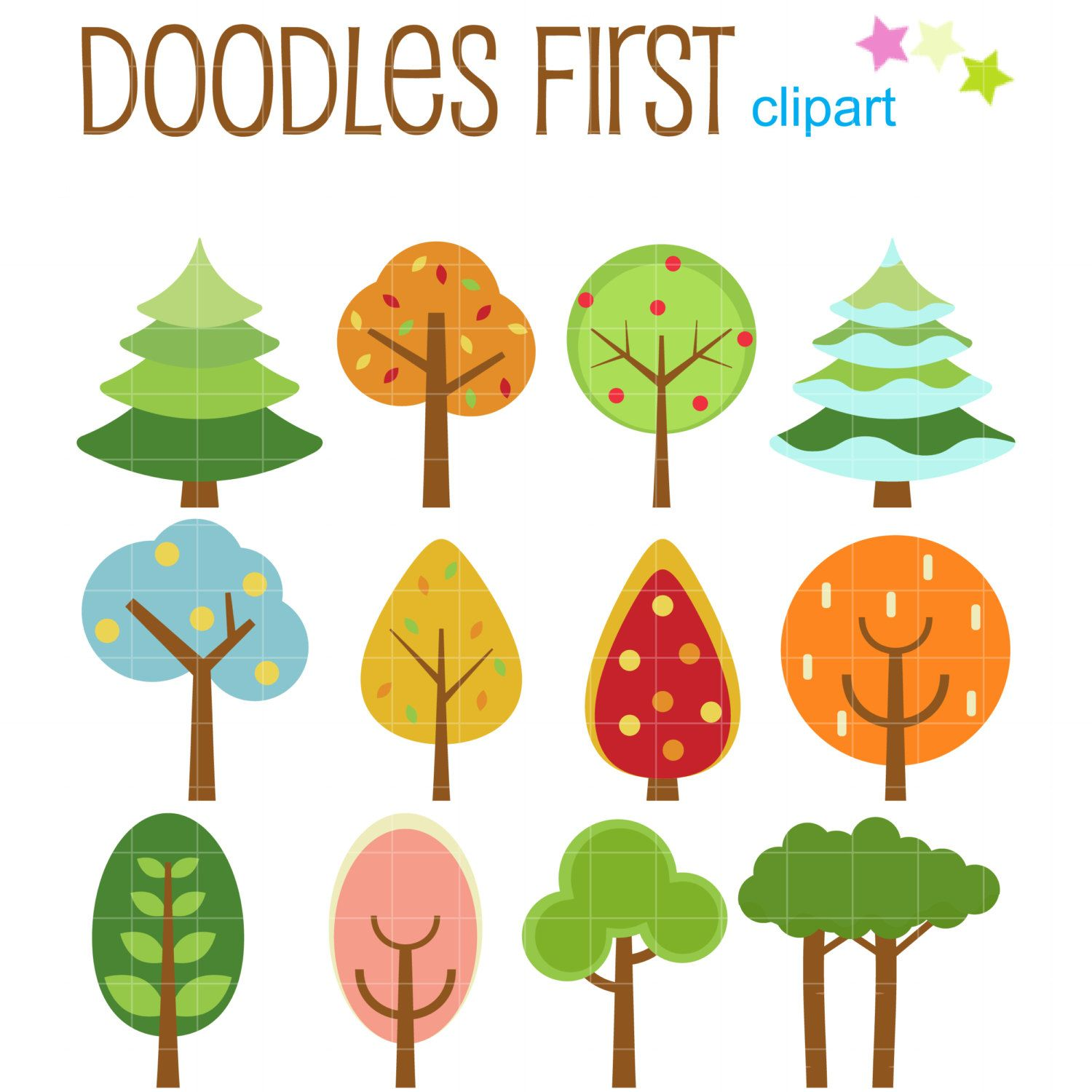 Cute Tree Set Digital Clip Art for Scrapbooking Card Making Cupcake Toppers Paper Crafts (2.99 USD) by DoodlesFirst