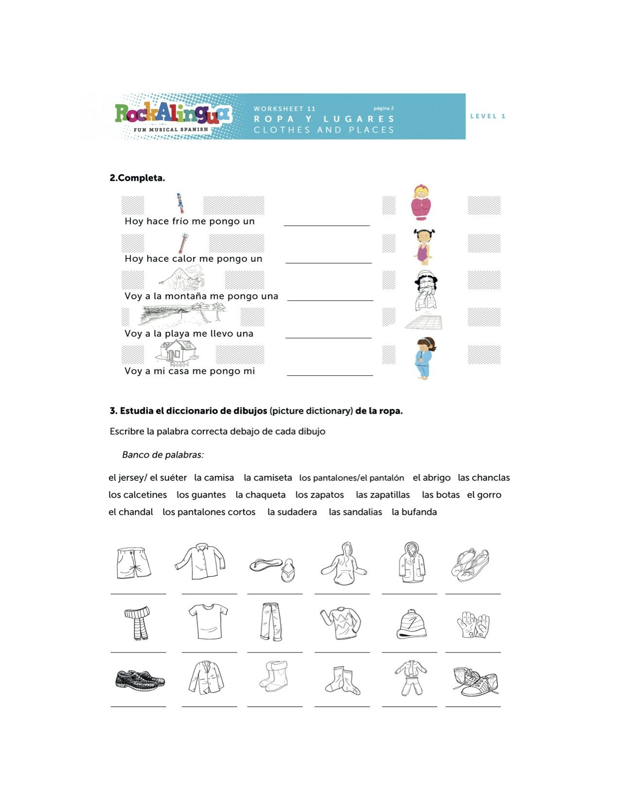 Spanish Worksheet about clothes places and weather more Spanish – Spanish Weather Worksheets