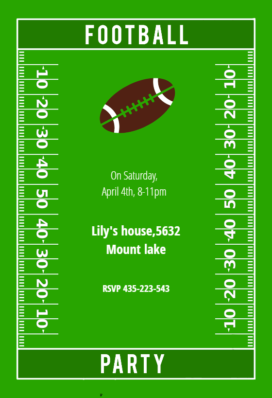 Football Party Printable Invitation Customize Add Text And Photos Print For Free