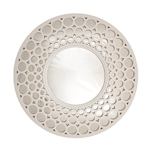 2475 Glamorous Cascading Orbs White Framed Round Wall Mirror -- You ...