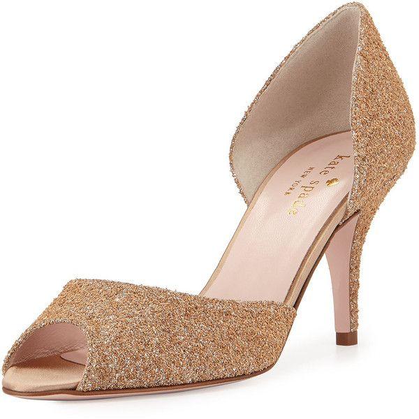 e3b312845456 kate spade new york sage glittered peep-toe pump ( 345) ❤ liked on. Silver High  HeelsGlitter ...