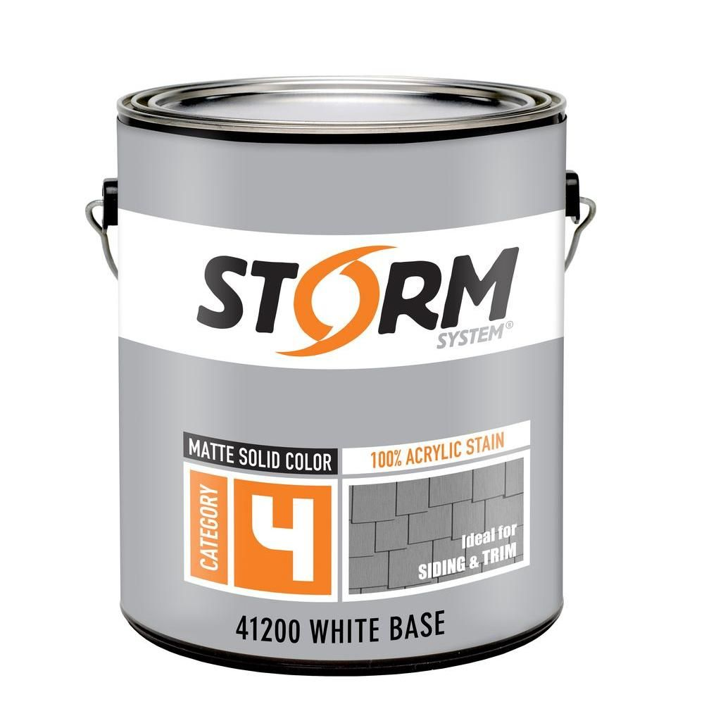 Storm System Category 4 1 Gal White Matte Exterior Wood Siding 100 Acrylic Stain Wood Siding Exterior Stain Get Rid Of Mold