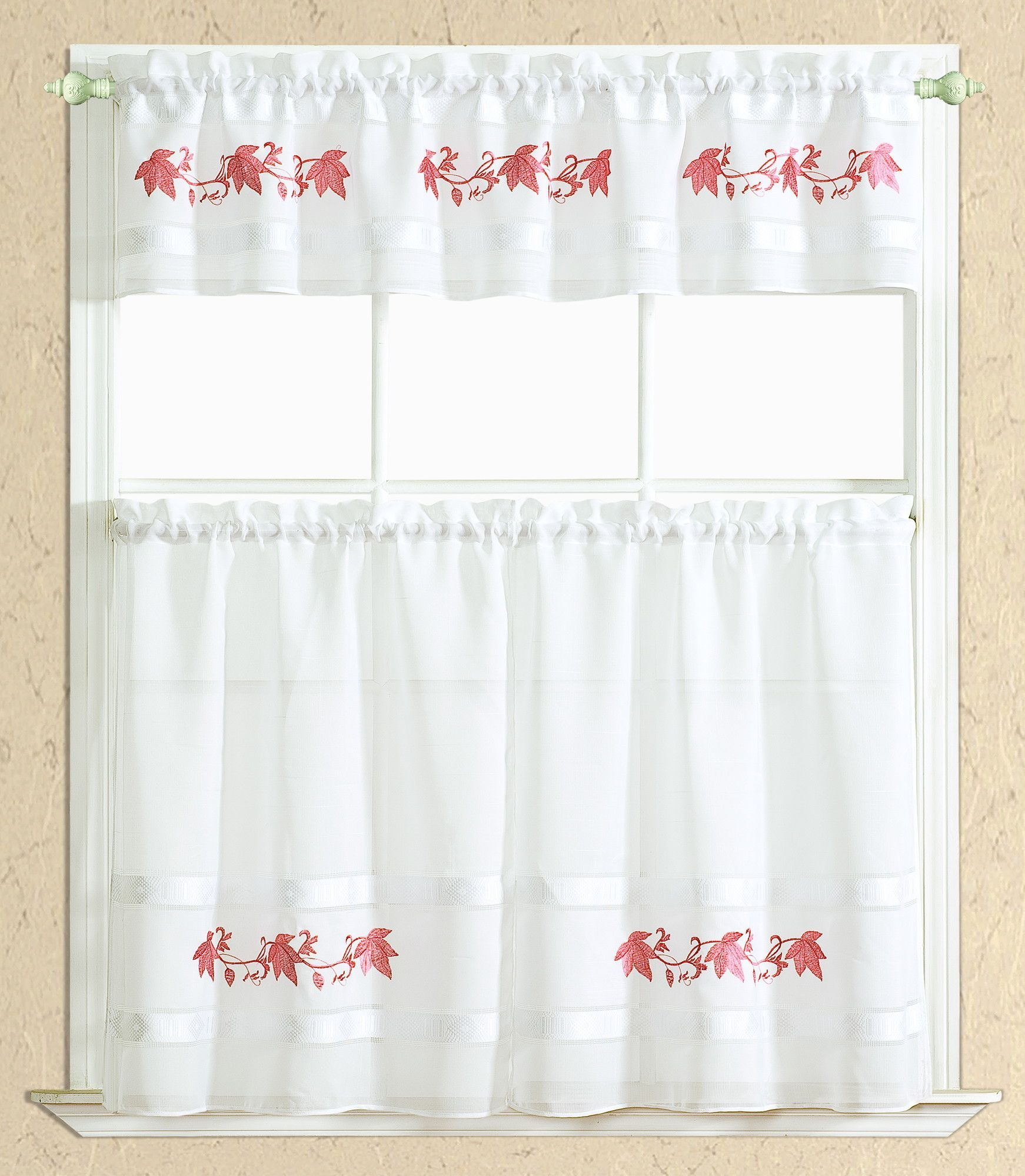 Beautiful Spring Cappuccino Kitchen Curtain Set Valance 60 X 14 Two Tiers 30 X 36  White Red