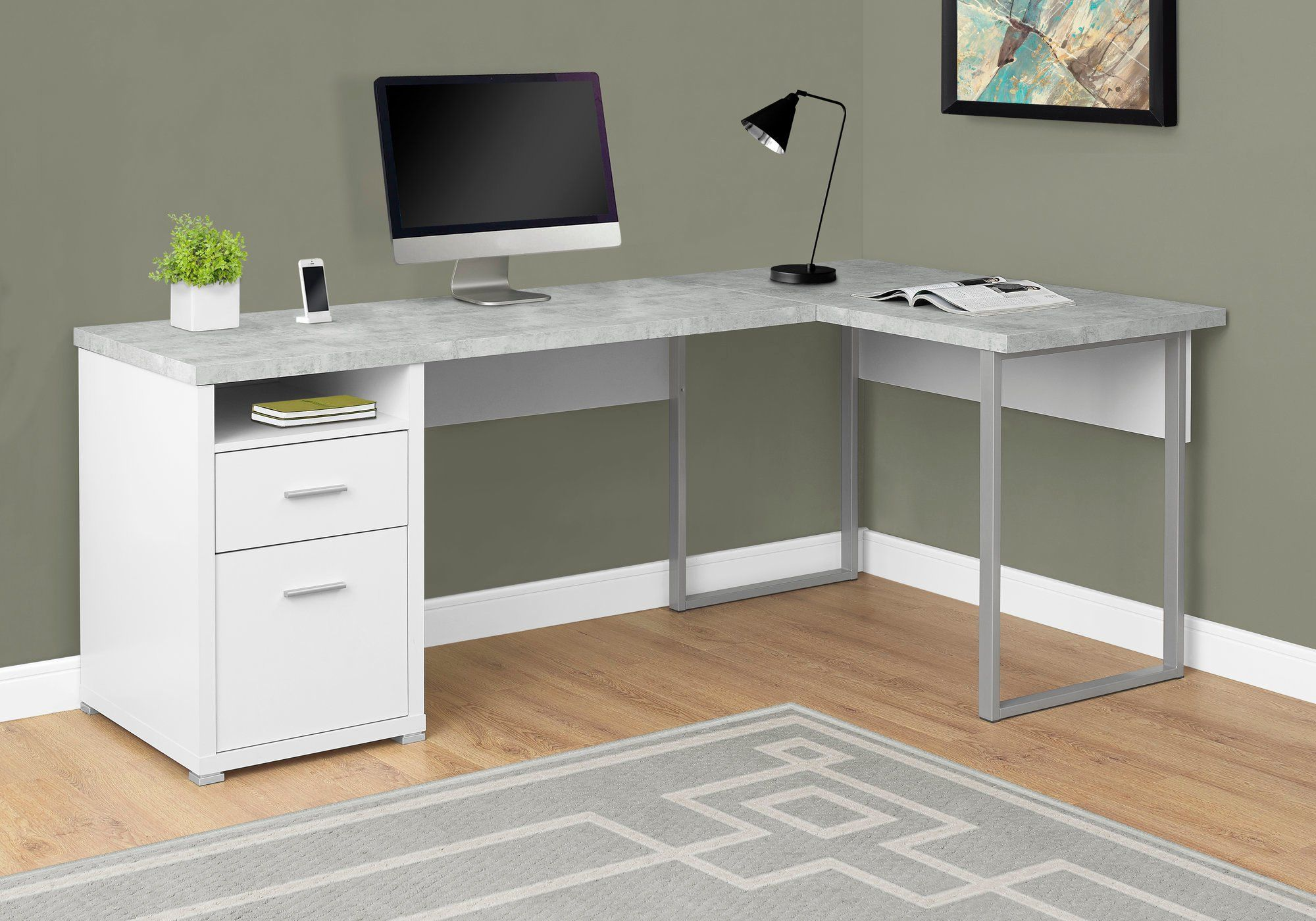 Concrete Gray L Shaped Computer Desk