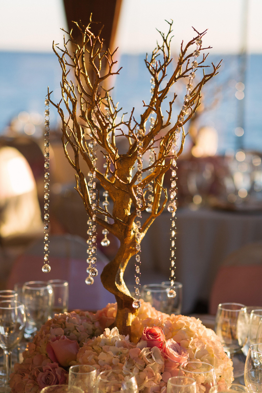 Gold Manzanita Trees With Hydrangeas And Roses Rustic Wedding