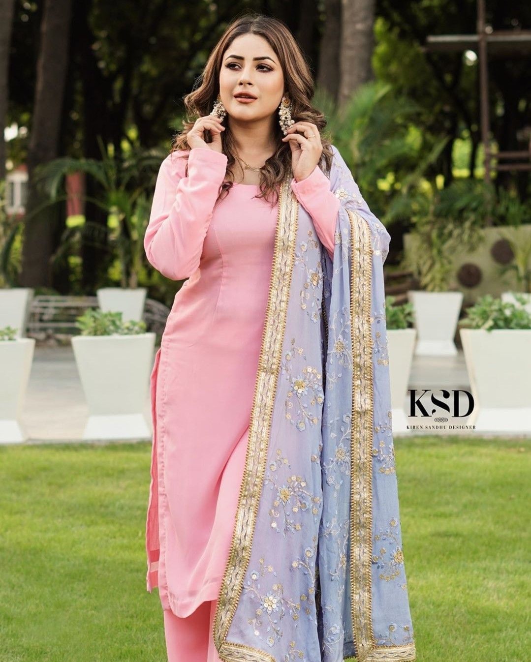 Shehnaaz Gill | Indian designer outfits, Cotton clothes women, Designer dresses indian