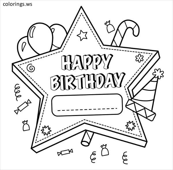 Happy Birthday Star Coloring Page For Kids Happy Birthday Coloring