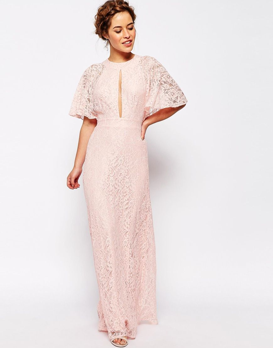 Lace Chiffon Maxi  Dress   Pink Bridesmaid Prom Party John Zack