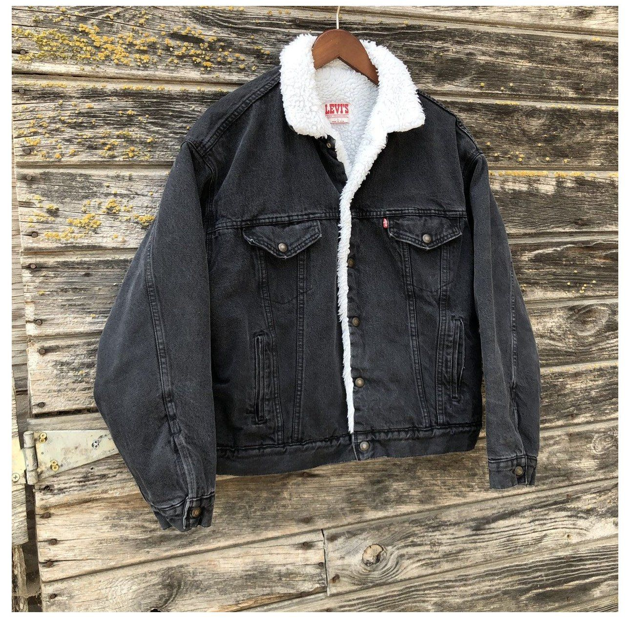 Vintage Levi S Sherpa Trucker Jacket Black Denim Grunge Coat Warm 90s Levis Faded Black Jean Jacket Bomb Faded Black Jeans Lined Denim Jacket Black Jean Jacket [ 1266 x 1290 Pixel ]