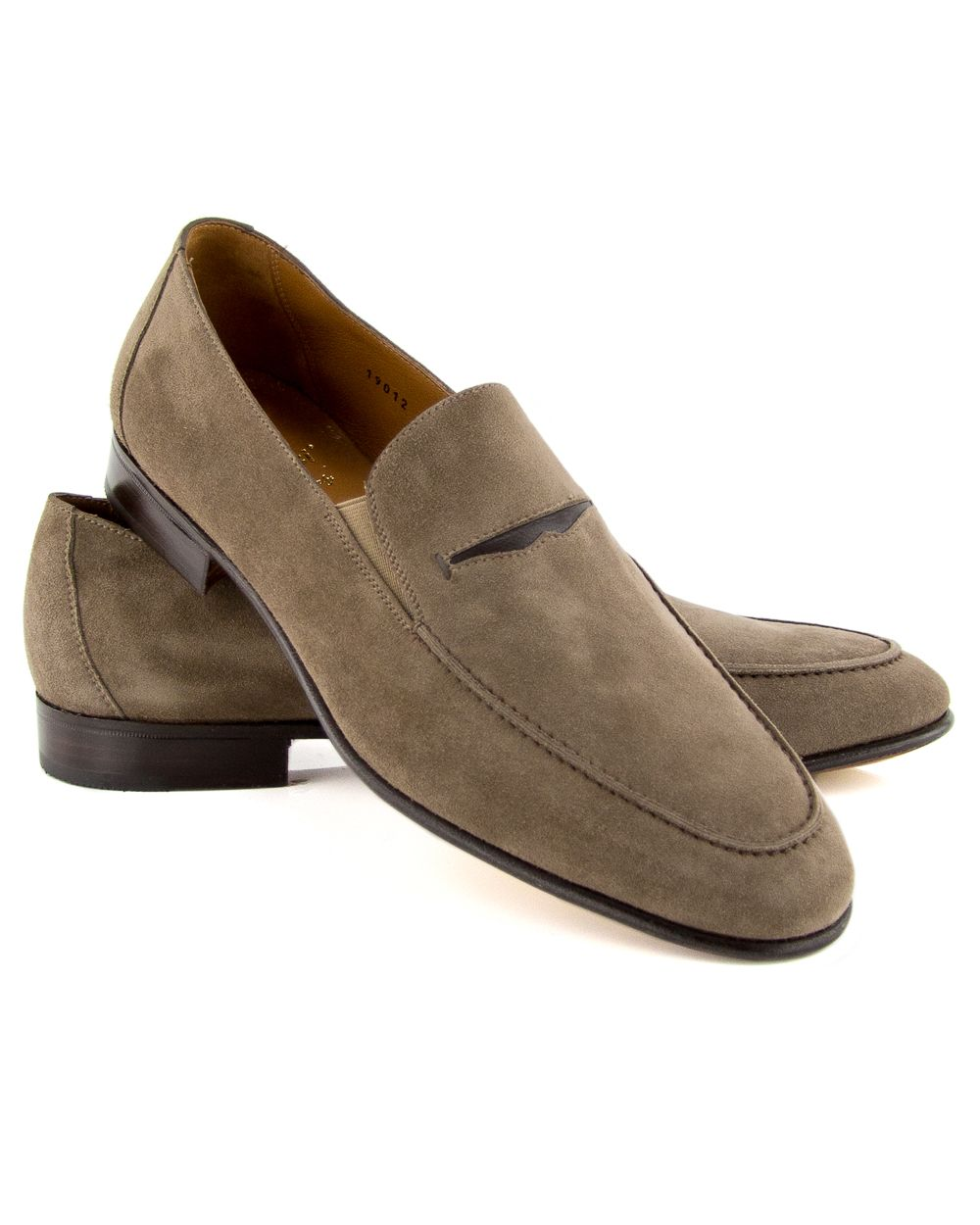 172cea67450  438 Gravati Taupe Double Gore Suede Leather Penny Loafer Suede leather  upper Traditional penny keeper slot