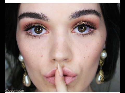 Peach and Glitter makeup tutorial - YouTube #easyneon