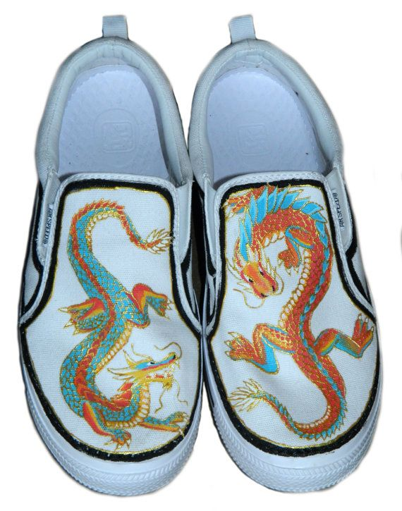 CLEARANCE: Chinese Dragon Men's 9 Painted Sneakers on Etsy, $50.00