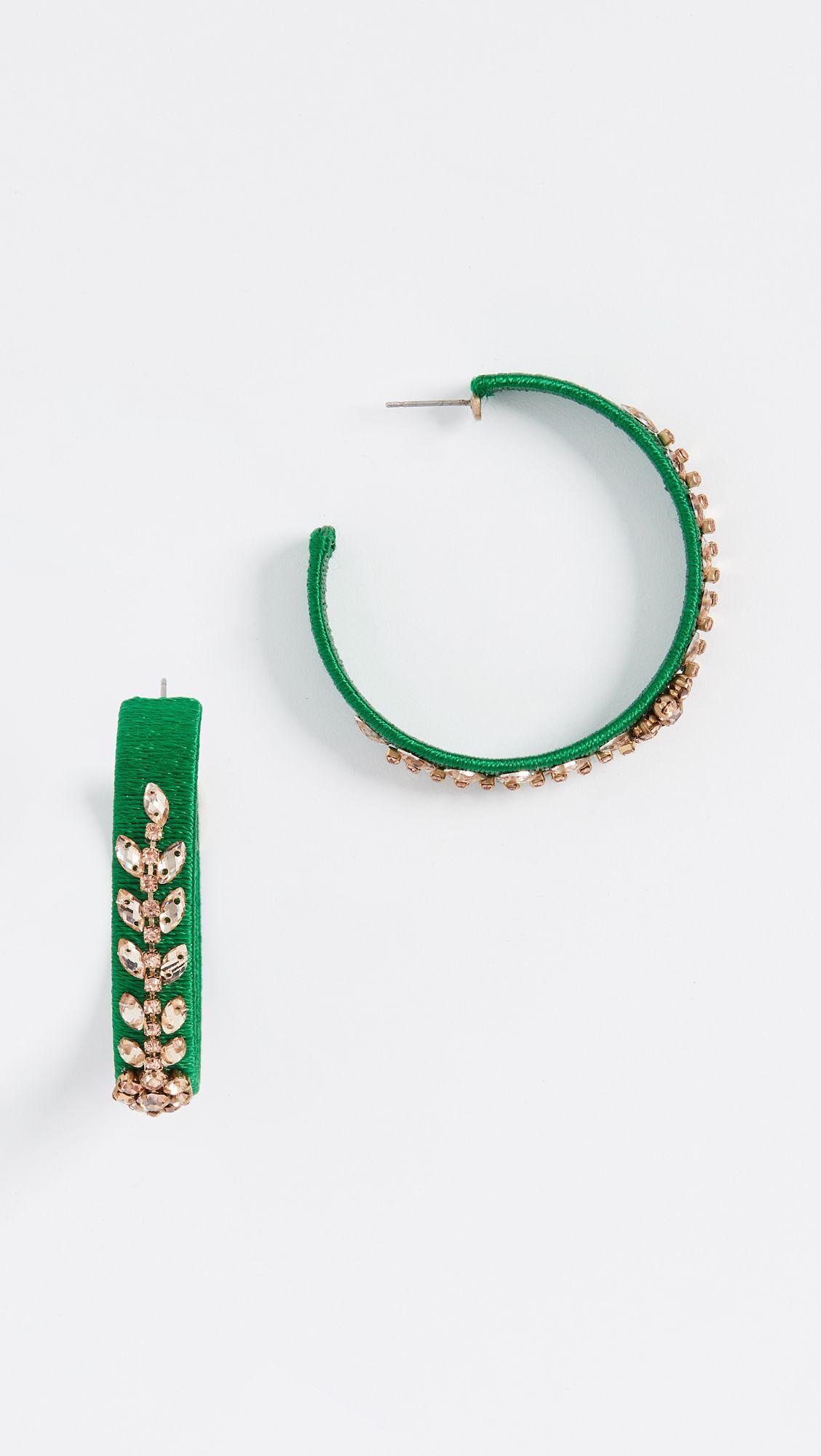 Oscar De La Renta Crystal Beaded Hoops Shopbop Beaded Hoops Crystal Beads Designer Earrings Studs
