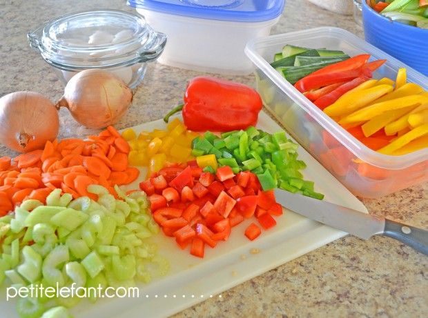 meal prep -- some ideas for prepping various veggies, etc, so that healthier meal preparations are easier during the week