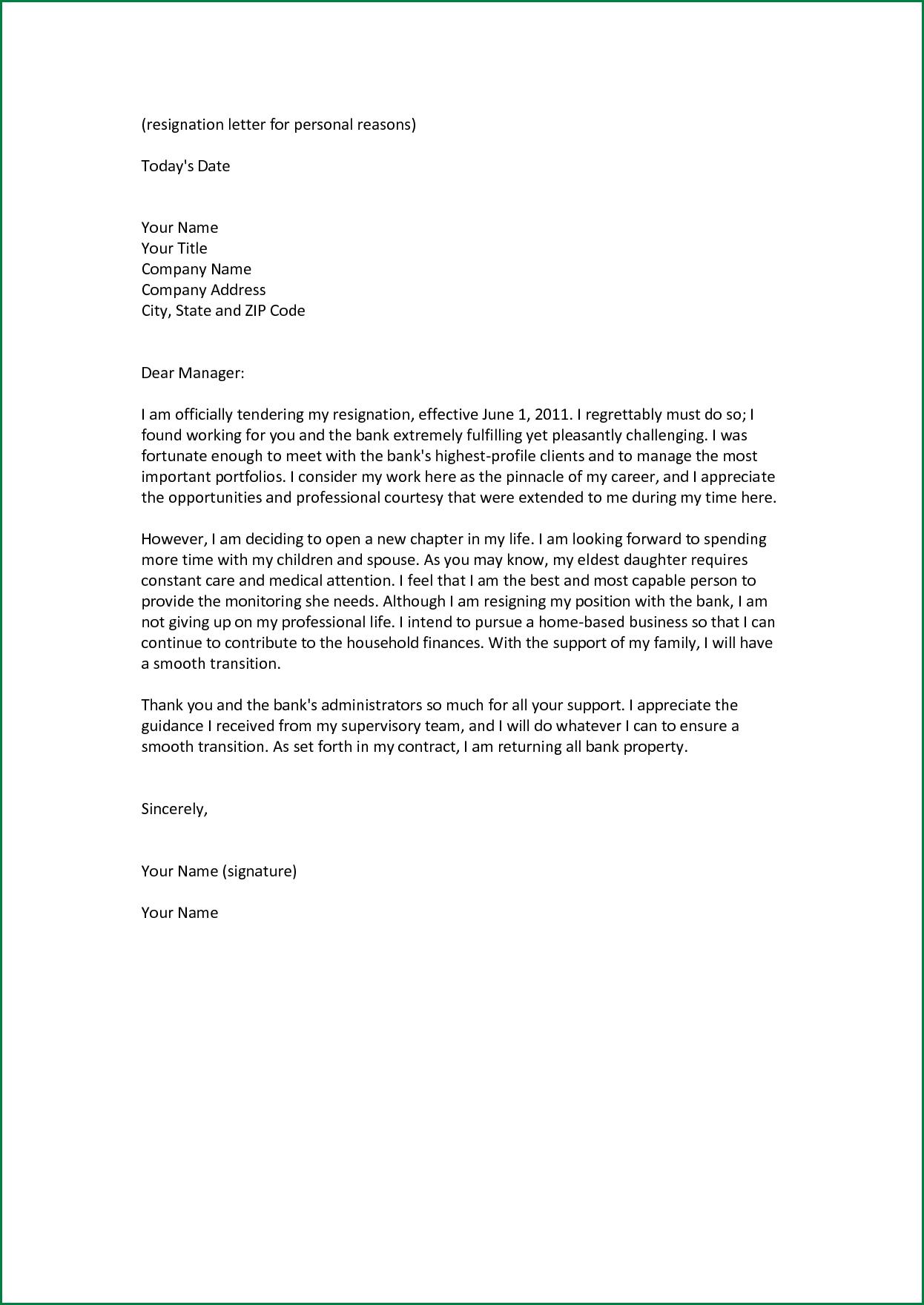 pattern of resignation letter