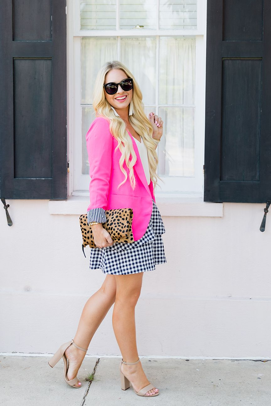 2eb1812c3fdc SHOP THE POST: POST DETAILS: Blazer: Jess Lea Boutique c/o / Skirt:  Madewell (25% off!) / Tank: TopShop / Clutch: Etsy / Sunglasses: Karen  Walker / Heels: ...