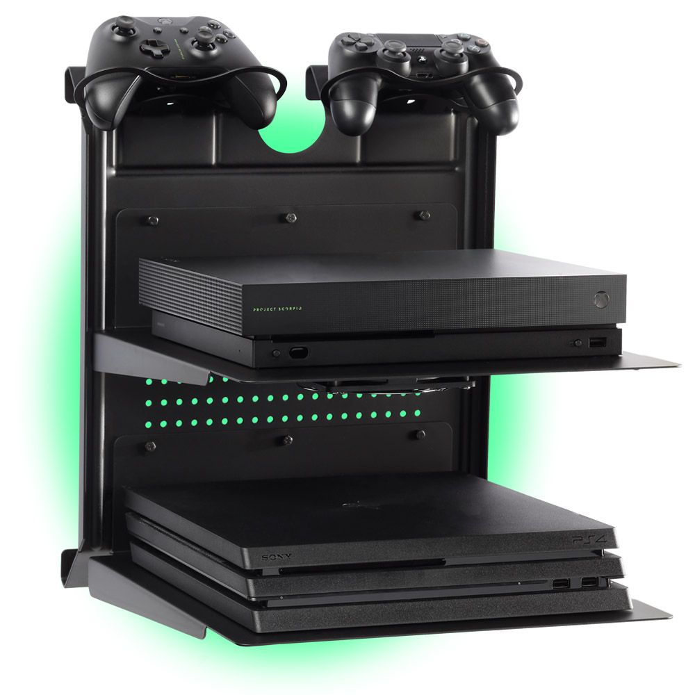 Check Out This Horizontal Wall Mount Ps4 And Xbox Gameside Bundle Double Shot Create For Your Passion Video Game Rooms Gaming Setup Ps4 Game Room Design