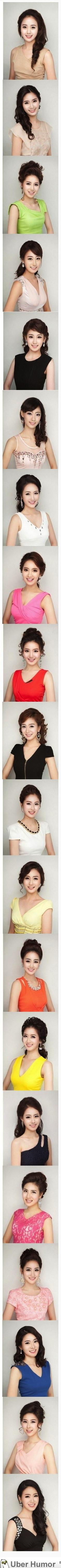 Korea's plastic surgery mayhem is finally converging on the same face. Here are the miss korea 2013 contestants.