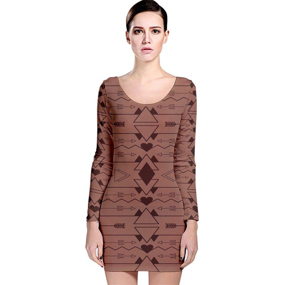 image Long Sleeve Velvet Bodycon Dress