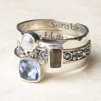 LOVE my SARA BLAINE BALI STACKING RINGS!  Want some for Valentine's Day?  Shop at http://feliciastory.willowhouse.com  Layer and love this set of three sterling silver rings. Hammered band with pearl; scrollwork band with smoky quartz; smooth band with blue quartz