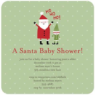 Santa Baby Christmas Baby Shower Invitation Christmas Baby