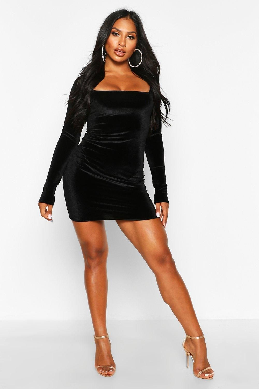 Velvet Square Neck Bodycon Mini Dress Boohoo In 2021 Mini Dress Mini Black Dress Bodycon Fashion [ 1500 x 1000 Pixel ]