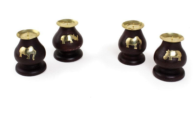 Set Of 2 African Animal Candle Holders