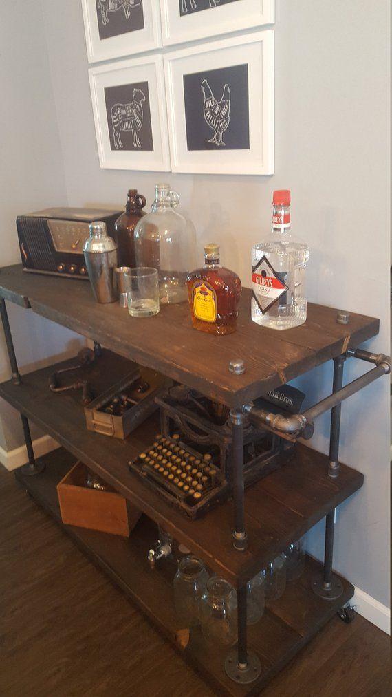 Rolling Bar Cart Microwave Coffee Kitchen Island Roll Away Steampunk Furniture Wine