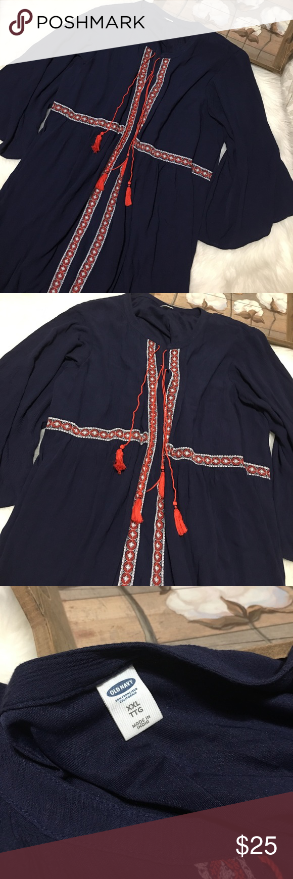 Old Navy • Navy Blue Embroidered Tassel Dress XXL Old navy navy blue and red Embroidered Tassel dress size XXL in great condition. Perfect for all occasions. 3/4 sleeves. Midi Boho dress Old Navy Dresses Midi
