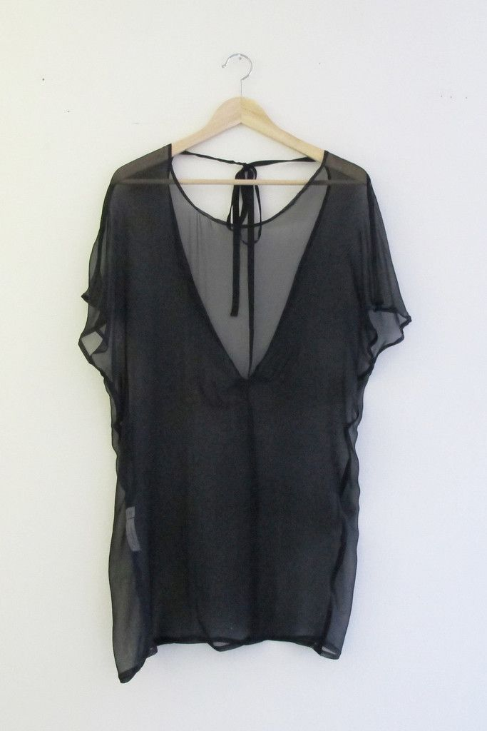 Bohemian French-Inspired Black Chiffon Low Back Tunic Dress