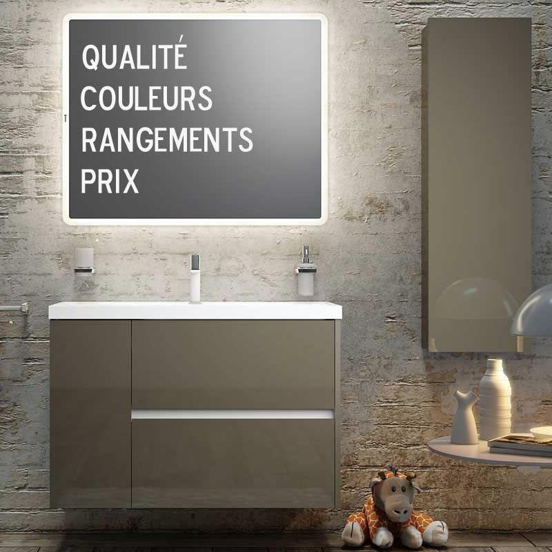Meuble salle de bain 100 cm, 2 tiroirs 1 porte, Plan céramique, Code ...