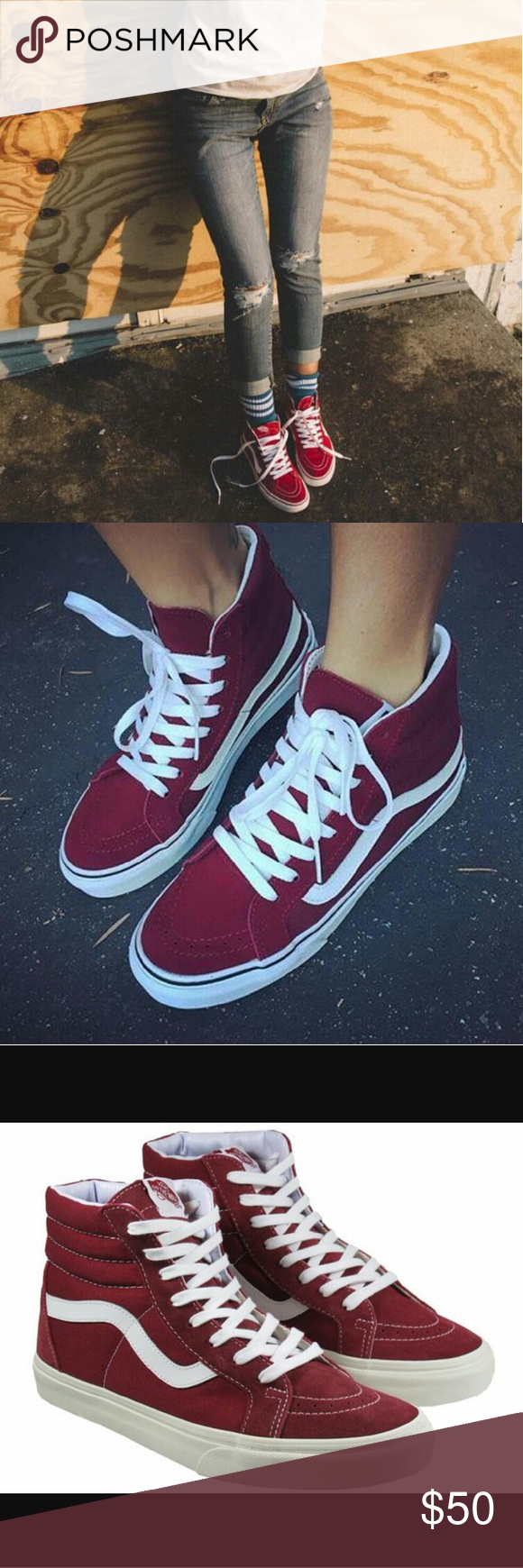 cf5e8242d4f028 VANS  Windor Wine  SK8-Hi Slim Womens Sneakers Size  7.5 Color ...