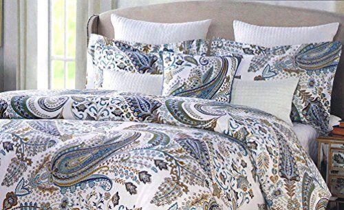Amazon Com Envogue Arina Parisian Paisley Duvet Cover 3pc Set Full Queen Or King Floral Paisley Navy Blue Taupe Gray Paisley Duvet Tahari Bedding Tahari Home