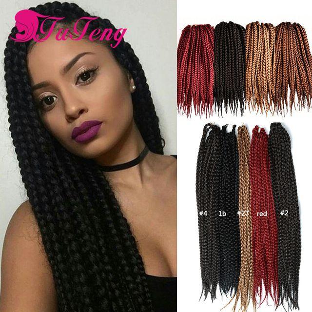 Box Braid Style 18 Inch 6 Packs Black Color Synthetic Hair Crochet Braid 3s Small Box Braids Box Braids Hairstyles Box Braids Styling Braided Hairstyles