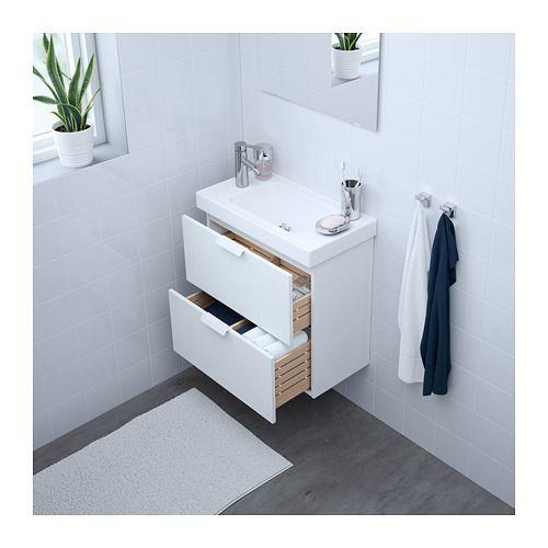 GODMORGON / HAGAVIKEN Sink cabinet with 2 drawers, white white 60x34x65 cm