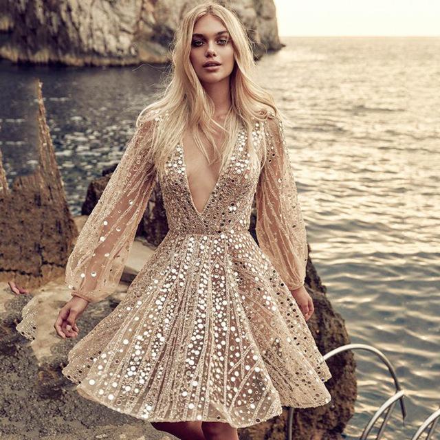 V neck Long Sleeve mesh Sequins Dress NA01 11