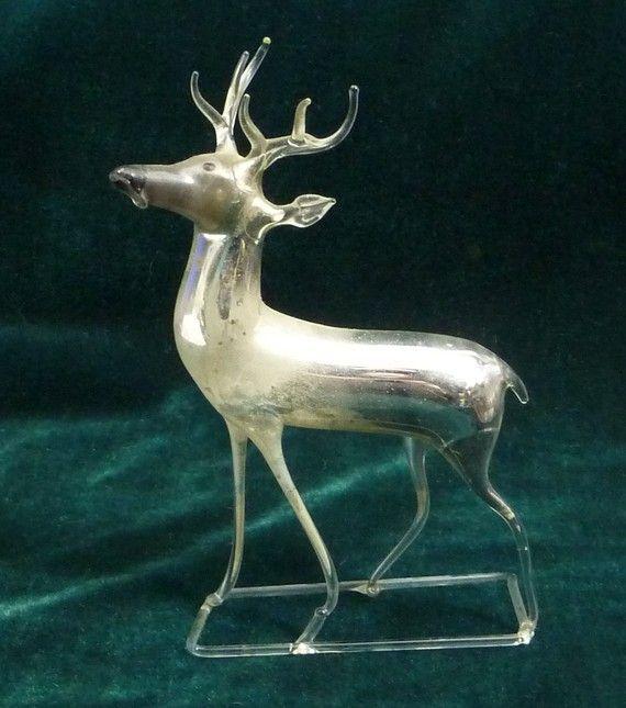 Ice Deer Antique Mercury Glass Reindeer Christmas Ornament Germany Antiques Mercury Glass Christmas Ornaments