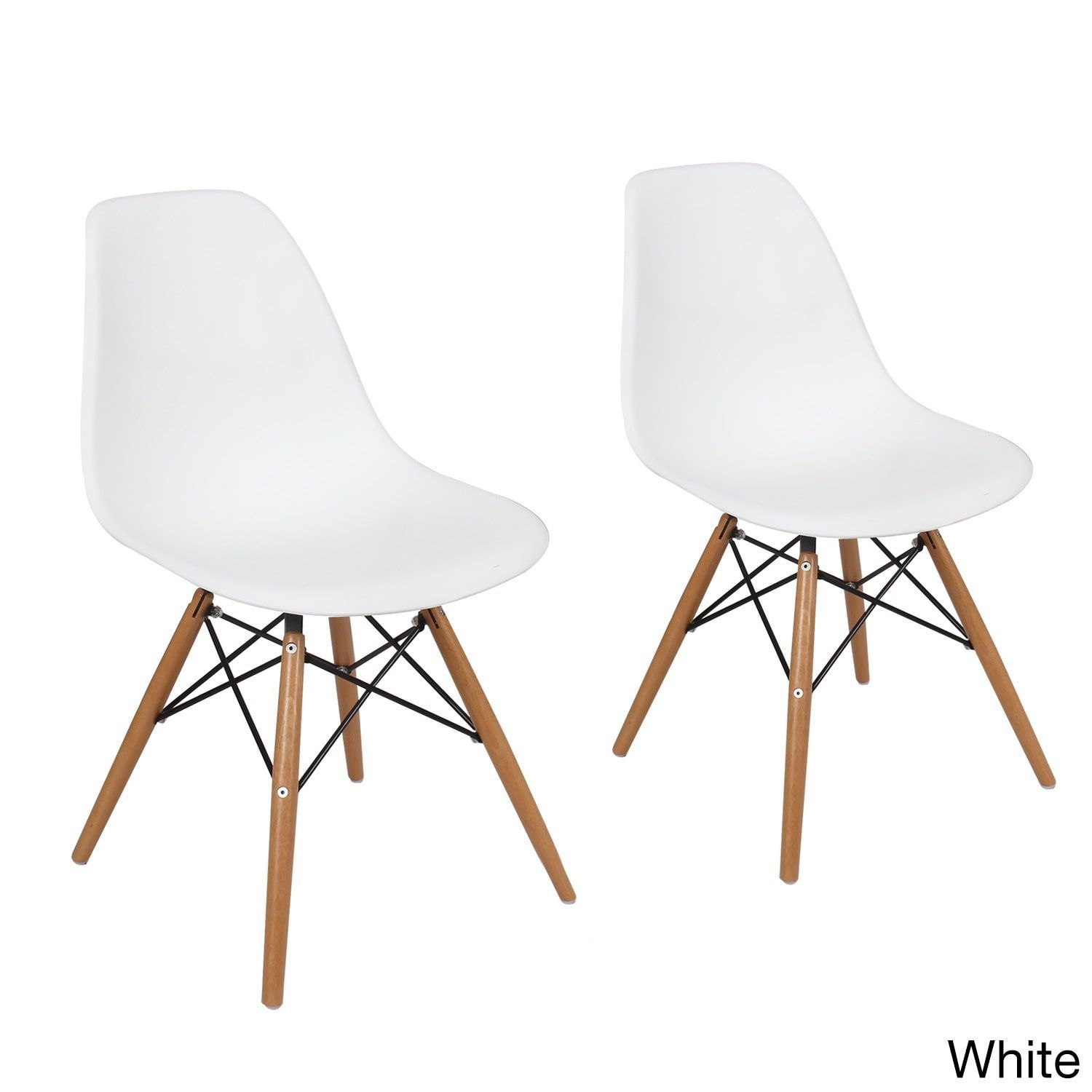 Adeco Plastic Dining Chair with Wooden Legs (Set of 2) (