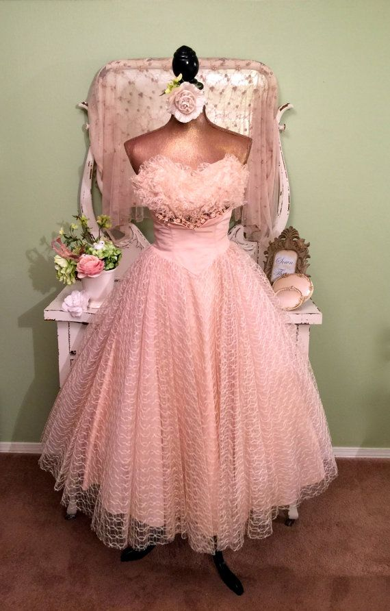 50s Prom Dress, 1950s Peach Cupcake Tulle Wedding Dress, Bombshell ...